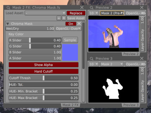 Use the  Chroma Mask FX  to convert blue screen footage to a grayscale masks.