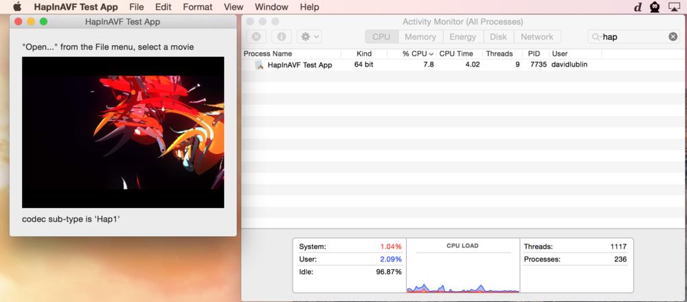 Hap 64- bit example app running AVFoundation in Yosemite.