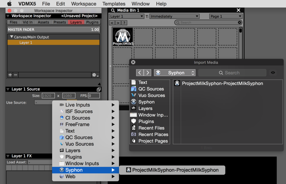 Syphon feeds can be directly received by layers or added to media bins in VDMX.