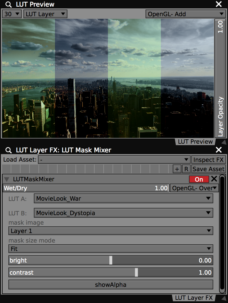 Create complex mixes with the LUT Mask Mixer FX.