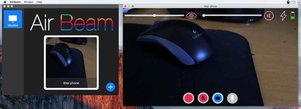 AirBeam on the Mac shows a preview of the camera and includes other useful controls.