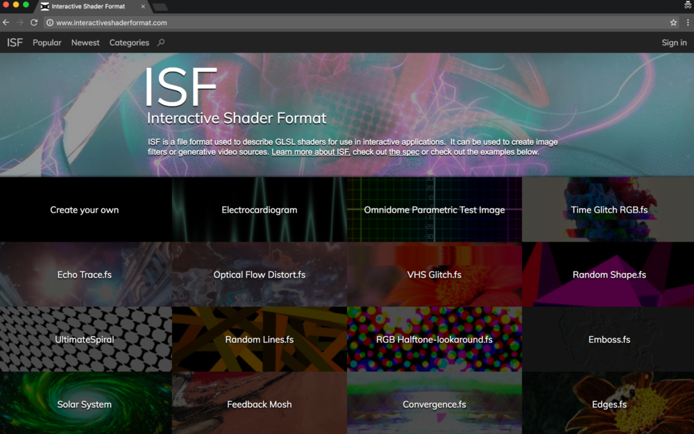 Find more examples of live generated media at  interactiveshaderformat.com