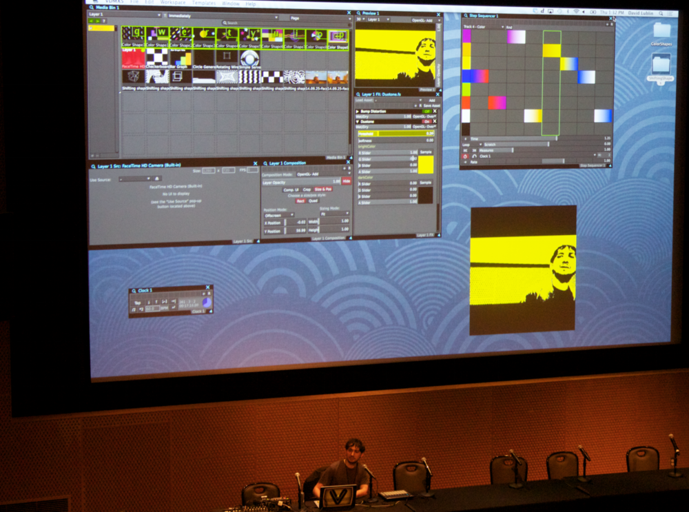 VIDVOX developer and VJ teacher David Lublin demonstrating how to use VDMX at Decibel Festival 2014.