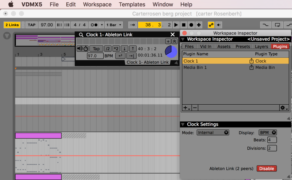 The Ableton Link Enable button in the VDMX Clock sub-inspector.