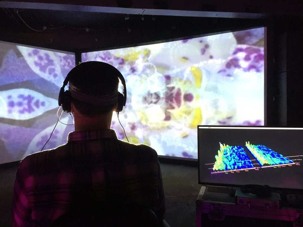 Brainwaves from participant at Liverpool International Festival of Psychedelia used to generate sound and visuals via EEG.