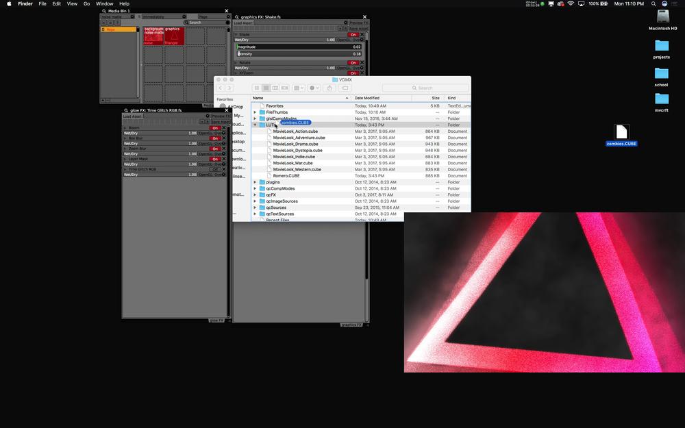 Install custom .cube LUT files into the VDMX assets folder.