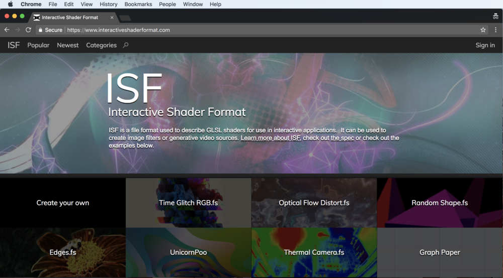 Visit the  ISF Sharing Site  to find more examples of shaders.