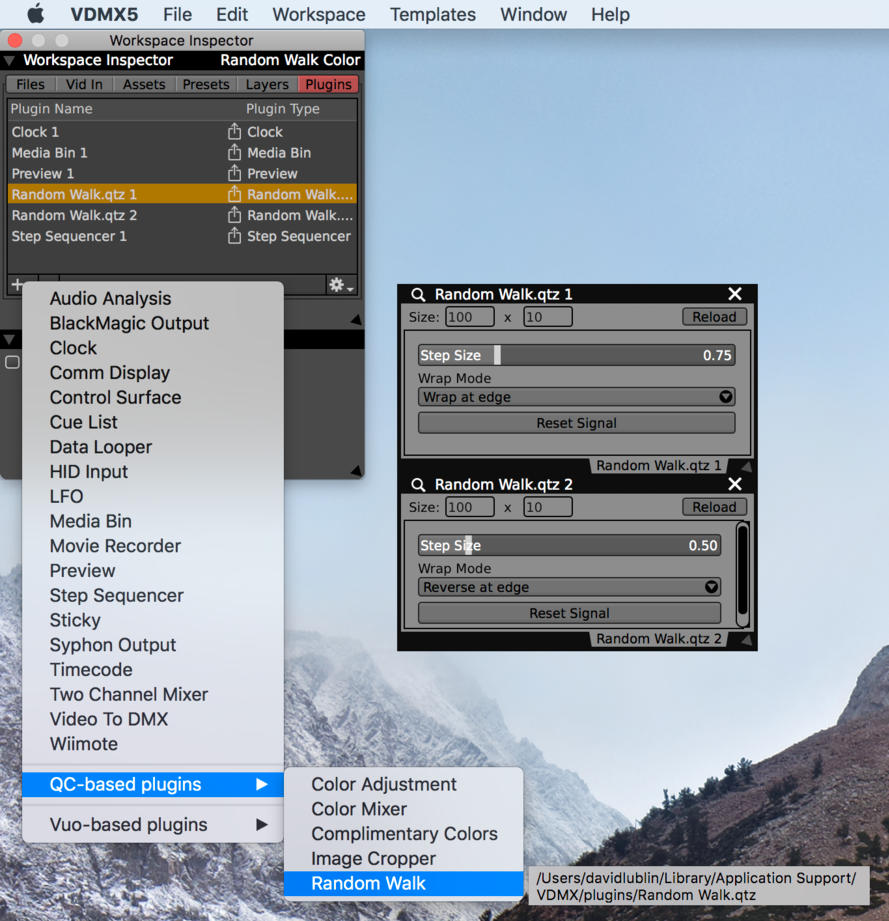 Quartz Composer and Vuo plugins can be added from the Workspace Inspector.