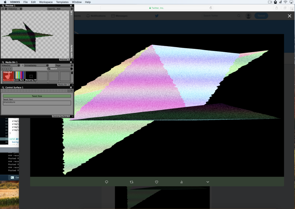 Using VDMX to generate images that are published to Twitter by Processing.