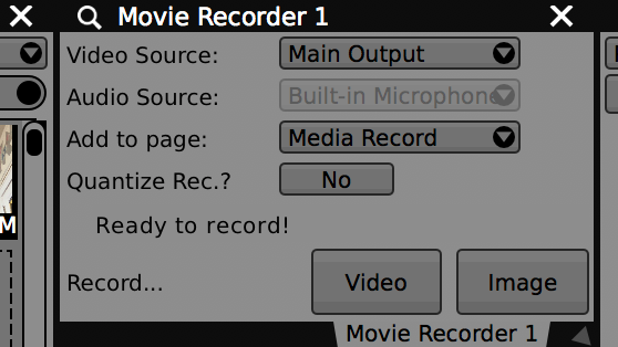 Use the Movie Recorder to capture video and images to disk.