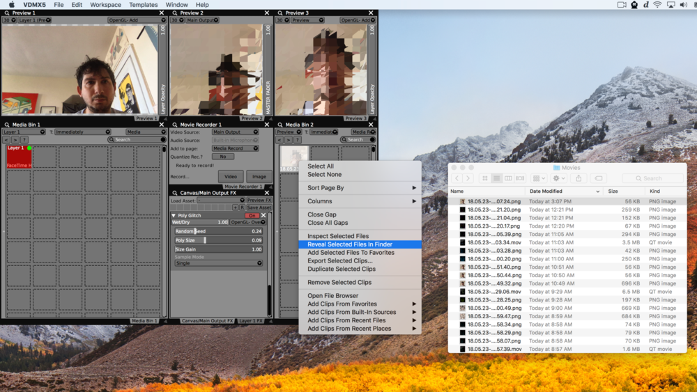 Right-click on media files to locate them in the Finder.