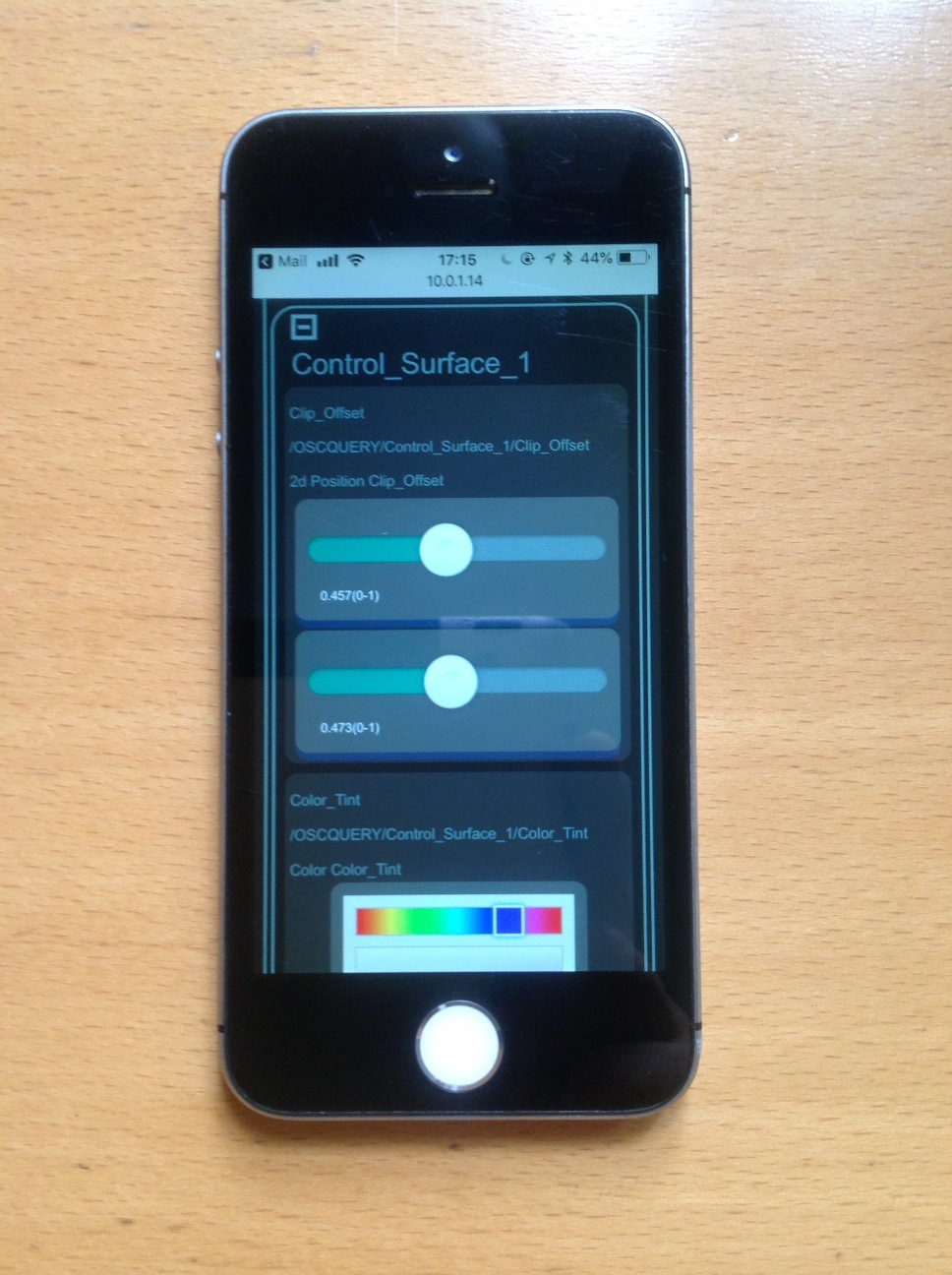 The Interactive HTML Interface viewed on an iPhone for remote control of VDMX parameters.