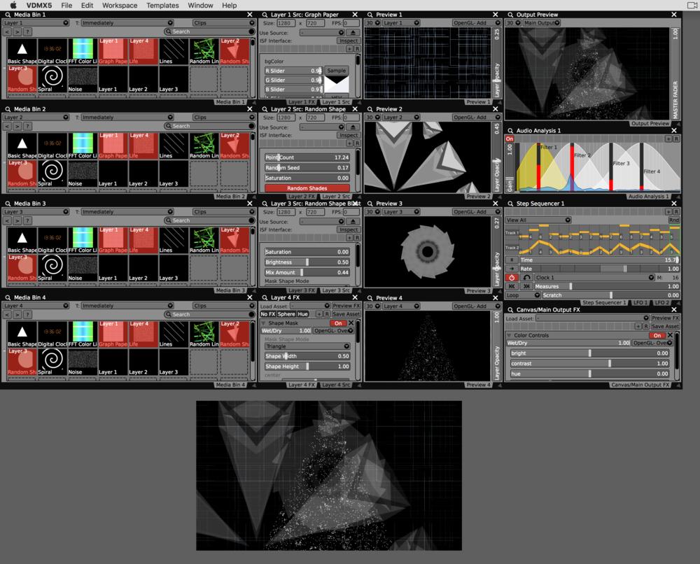 Minimalist design setup in VDMX