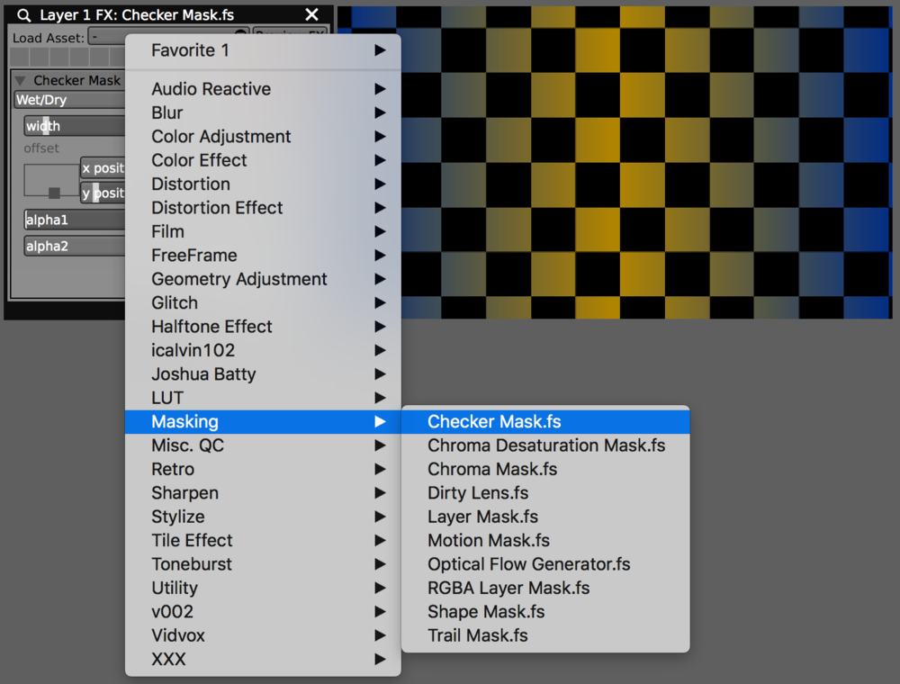 Installed FX appear in their specified categories in VDMX