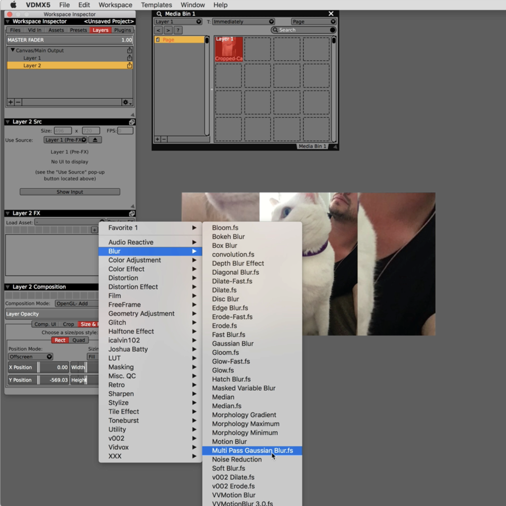 """Set the Size mode of Layer 2 to """"Fill"""" and then apply blurs and other FX."""