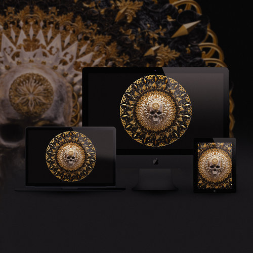Skull Mandala Black Wallpaper Pack