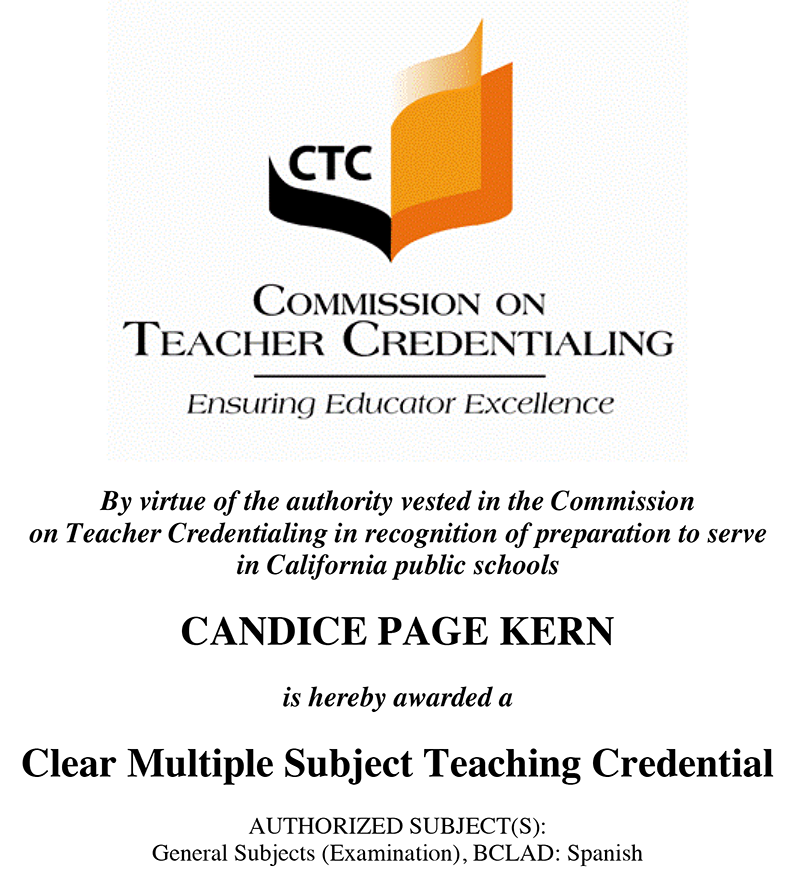 Teaching Credential Candi Kern