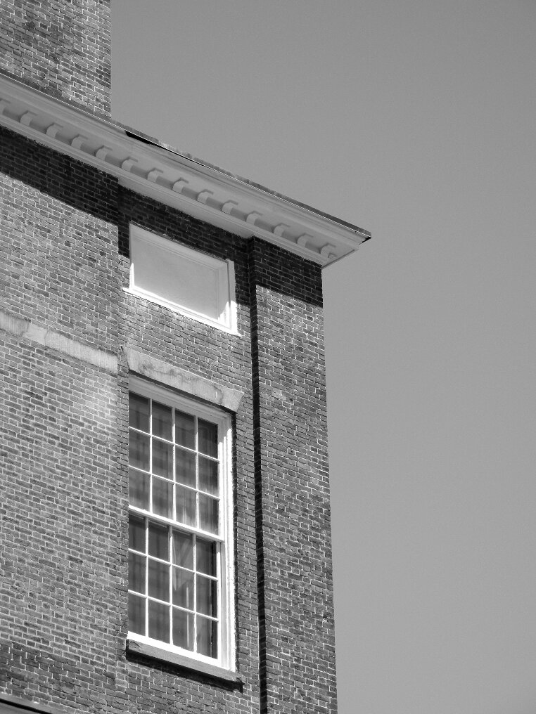 Brick, roof top, window, window pane, Beacon Hill, Charles street meeting house