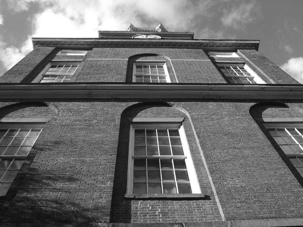 window, window pane, brick, eave, roof, Beacon Hill, Charles street meeting house