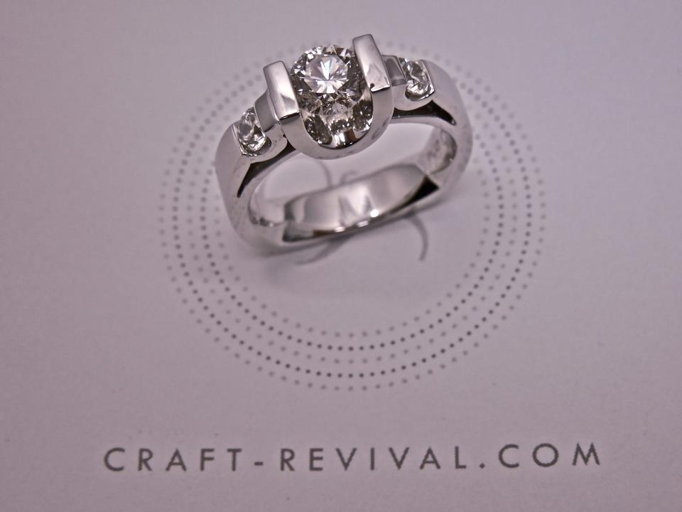Craft-Revival Jewelers,  engagement ring, diamond engagement ring, diamond ring, modern ring, unique ring, unique engagement ring, three stone ring, channel diamond