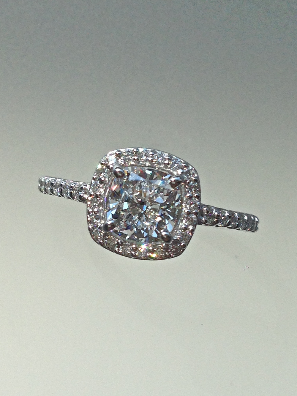 Craft-Revival Jewelers,  engagement ring, diamond engagement ring, diamond ring, modern ring, unique ring, unique engagement ring, halo engagement ring, cushion cut diamond, petite ring