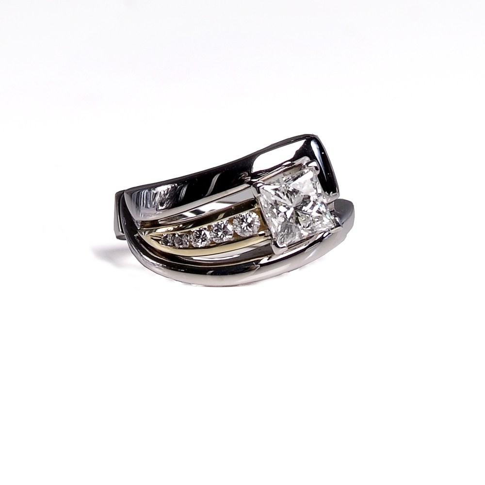 unique-two-toned-princess-cut-modern-white-gold-yellow-gold-emgagement-ring-craft-revival-jewelry-store-grand-rapids