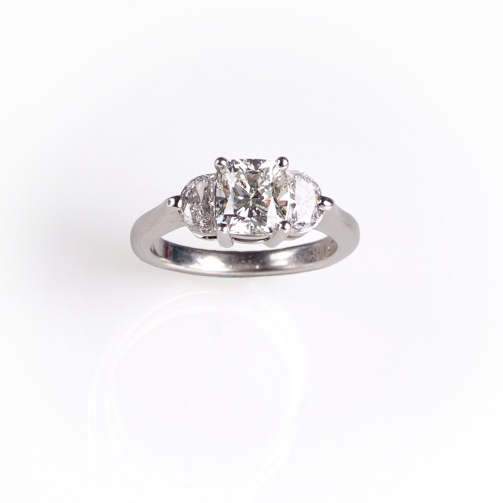 Craft-Revival Jewelers,  engagement ring, diamond engagement ring, diamond ring, modern ring, unique ring, unique engagement ring, three stone engagement ring, cushion cut diamond ring