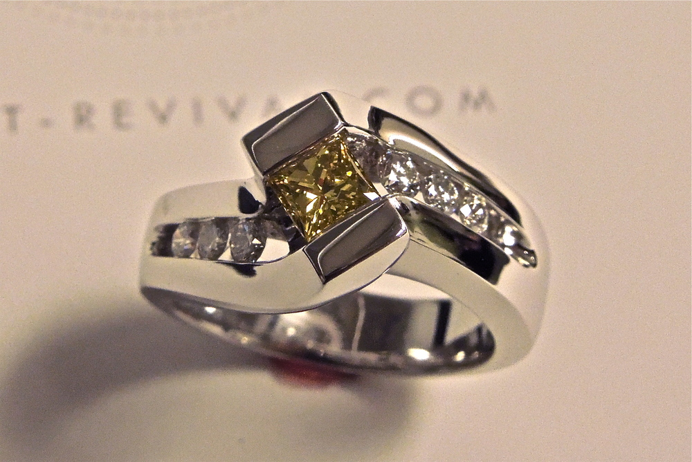 Craft-Revival Jewelers,  engagement ring, diamond engagement ring, diamond ring, modern ring, unique ring, unique engagement ring, yellow diamond, princess cut diamond