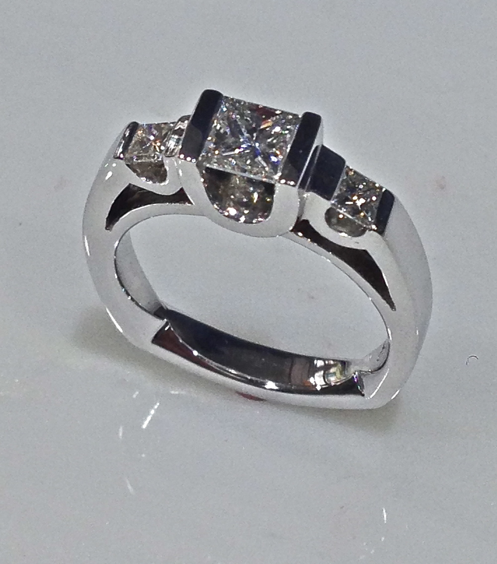 Craft-Revival Jewelers,  engagement ring, diamond engagement ring, diamond ring, modern ring, unique ring, unique engagement ring, three stone ring, princess cut diamond