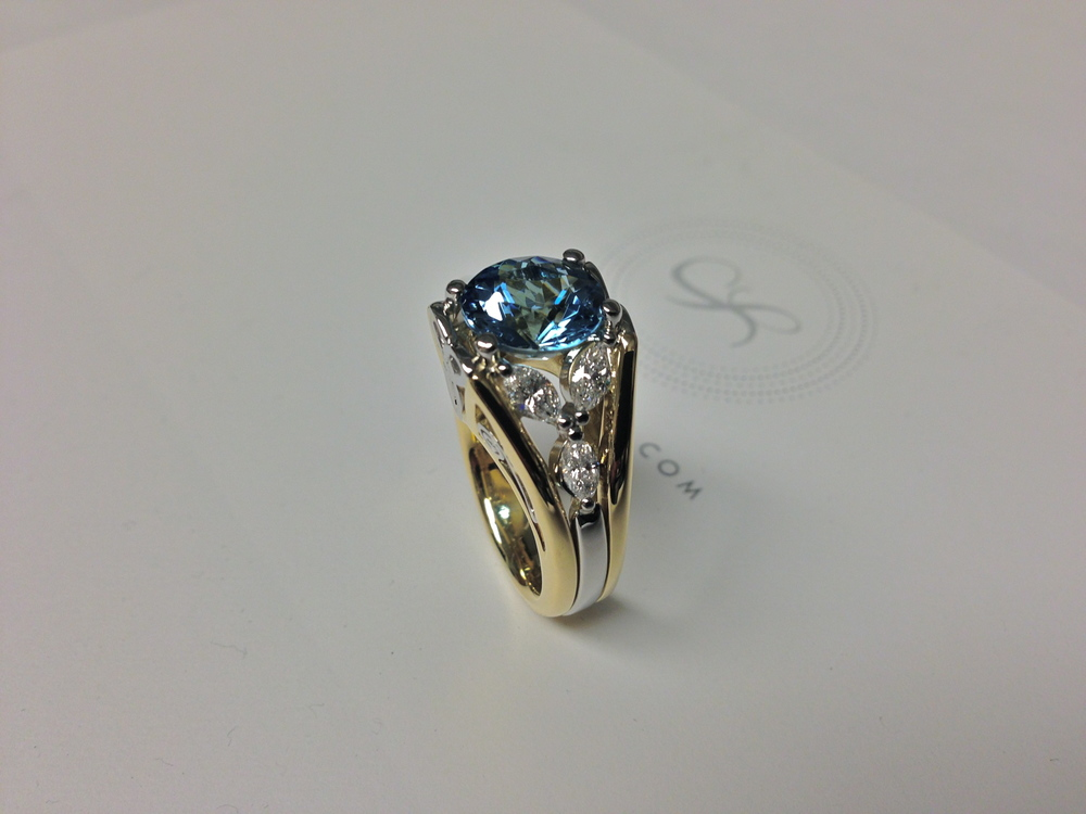 side-view-unique-celtic-irish-trifoil-aquamarine-engagement-ring-yellow-gold-white-gold-craft-revival-jewelry-store-grand-rapids