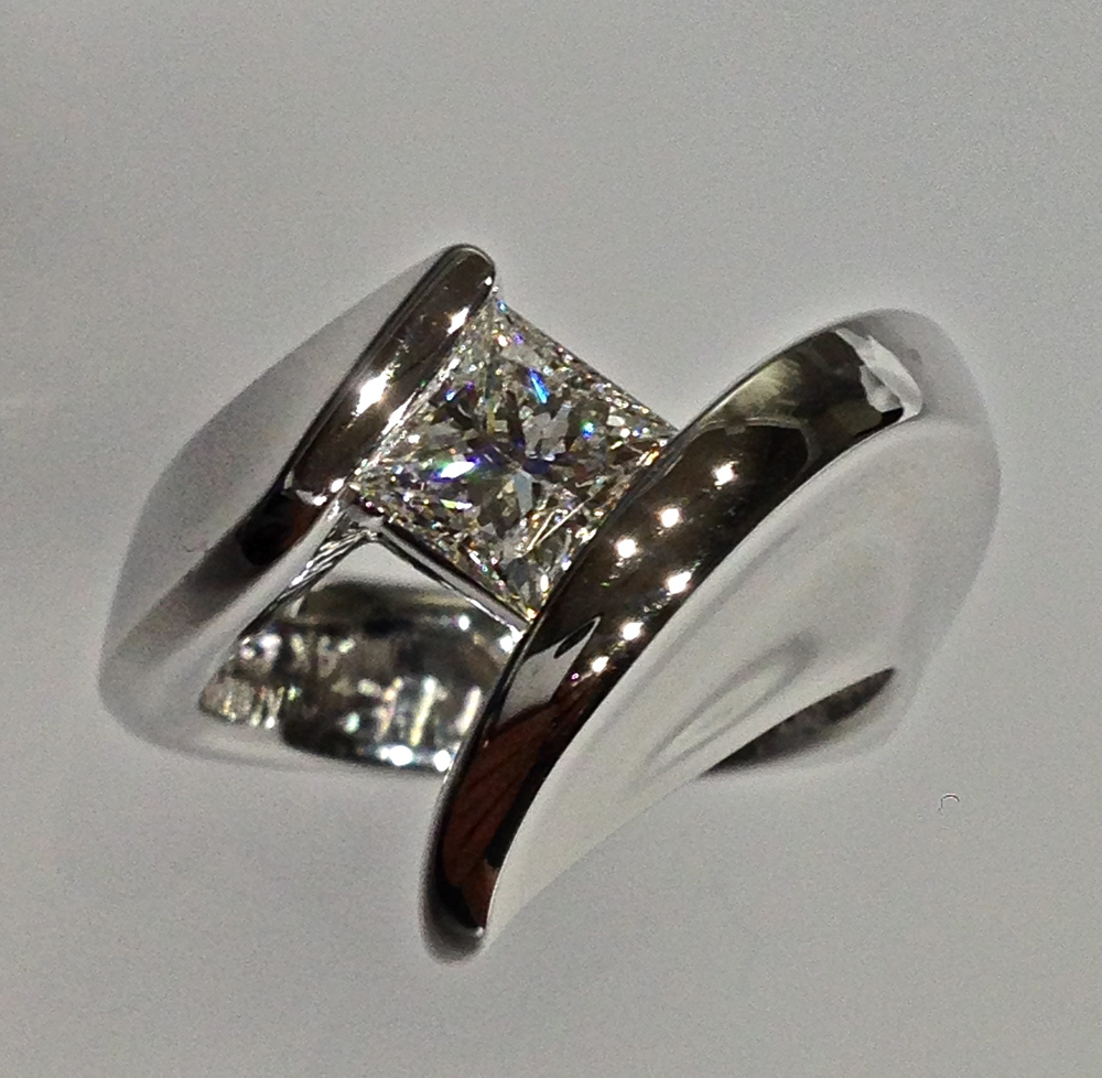 Craft-Revival Jewelers,  engagement ring, diamond engagement ring, diamond ring, modern ring, unique ring, unique engagement ring, princess cut diamond