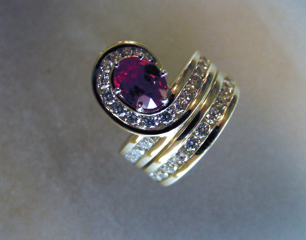 Craft-Revival Jewelers,  engagement ring, diamond engagement ring, diamond ring, modern ring, unique ring, unique engagement ring, ruby engagement ring