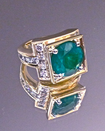 Craft-Revival Jewelers,  engagement ring, diamond engagement ring, diamond ring, modern ring, unique ring, unique engagement ring, emerald engagement ring, yellow gold ring