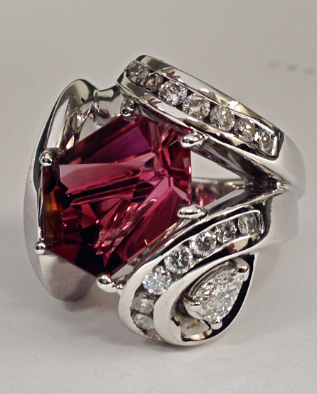 Craft-Revival Jewelers, Pink tourmaline ring, tourmaline ring, munstiner gemstone, gemstone ring