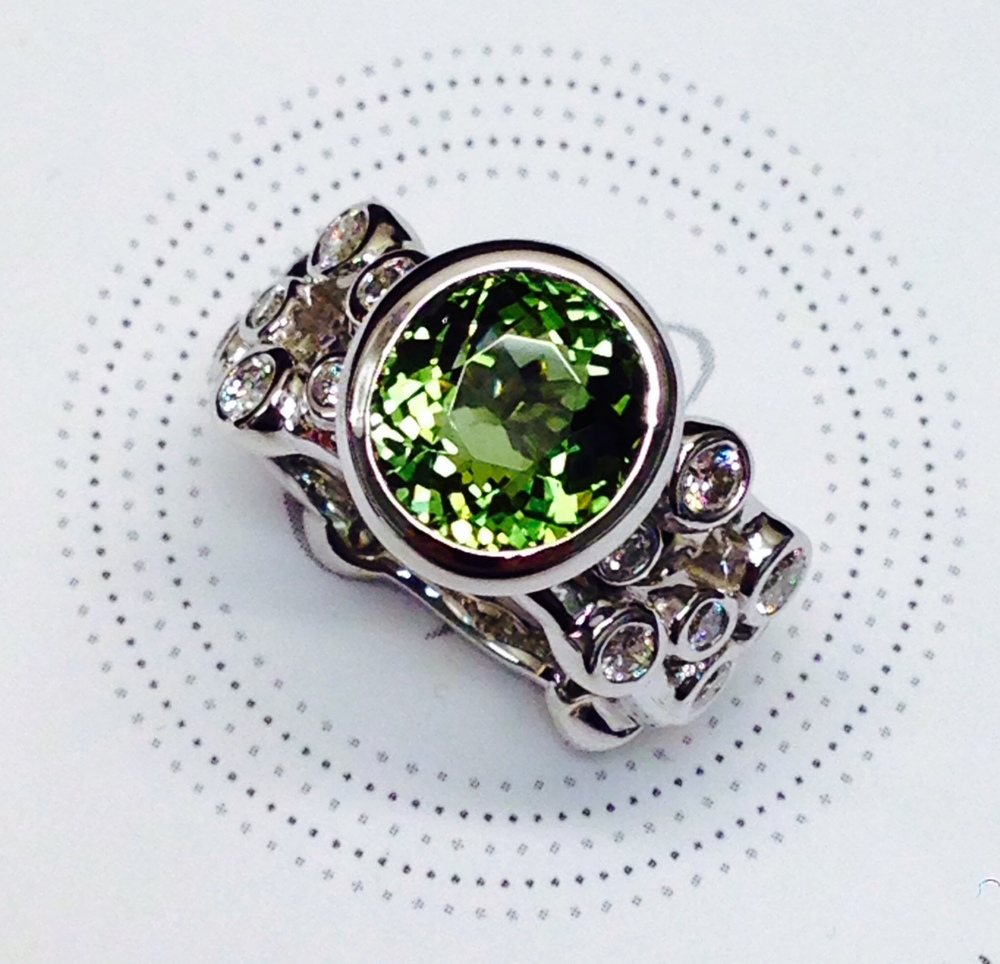 Craft-Revival Jewelers, tourmaline ring, green tourmaline ring, bezel set diamonds, diamond eternity band