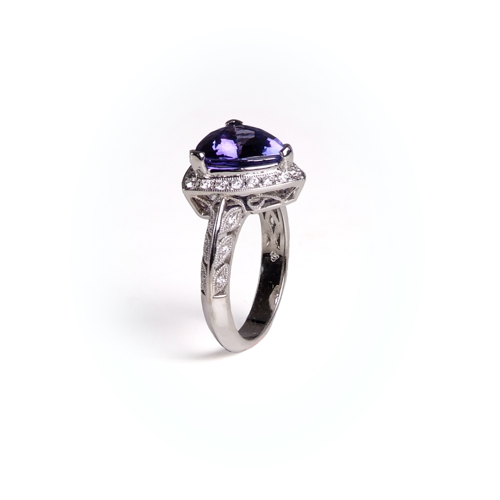Craft-Revival Jewelers, tanzanite ring, antique ring, halo ring, gemstone halo ring