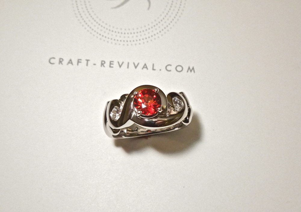 Craft-Revival Jewelers, sapphire ring, orange sapphire ring