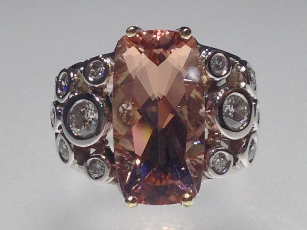 Craft-Revival Jewelers, unique ring, morganite ring, bezel set diamonds