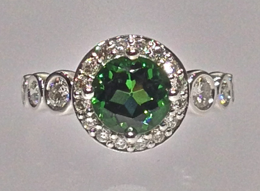 Craft-Revival Jewelers, Green tourmaline ring, tourmaline ring, bezel set diamonds
