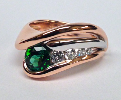 Craft-Revival Jewelers, Rose gold ring, tourmaline ring, green tourmaline ring