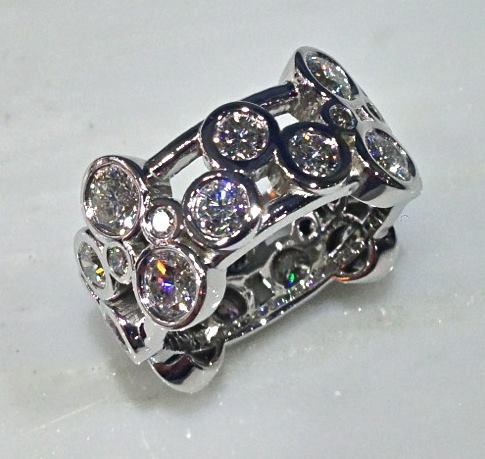 Craft-Revival Jewelers, diamond eternity band, bezel set diamond, diamond ring