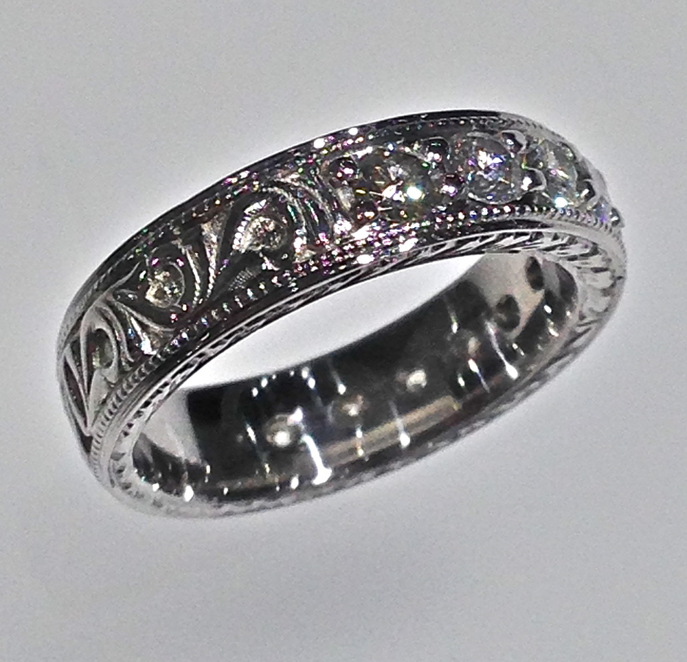 wedding bands gay wedding bands Craft Revival Jewelers diamond wedding band antique wedding band engraved band