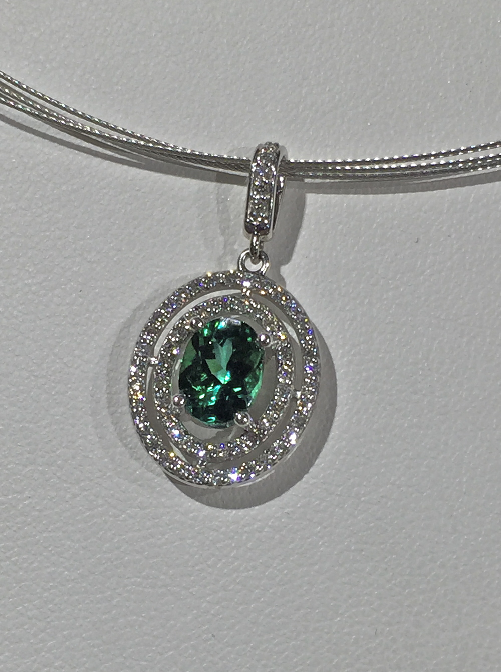 Craft-Revival Jewelers, unique pendant, unqiue necklace, double halo pendnant, tourmaline pendant, tourmaline necklace