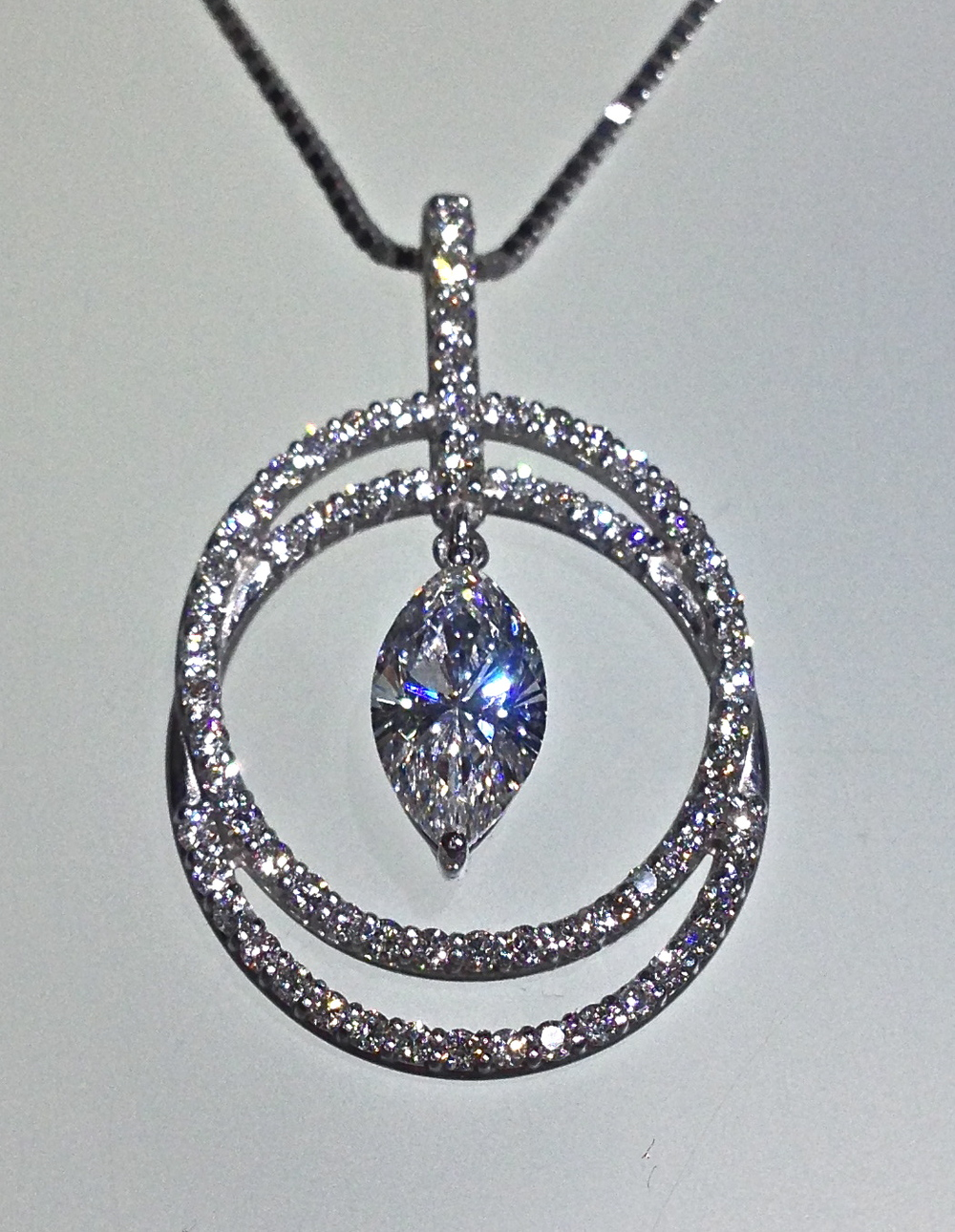 Craft-Revival Jewelers, unique pendant, unqiue necklace, double halo pendant, marquise diamond pendant