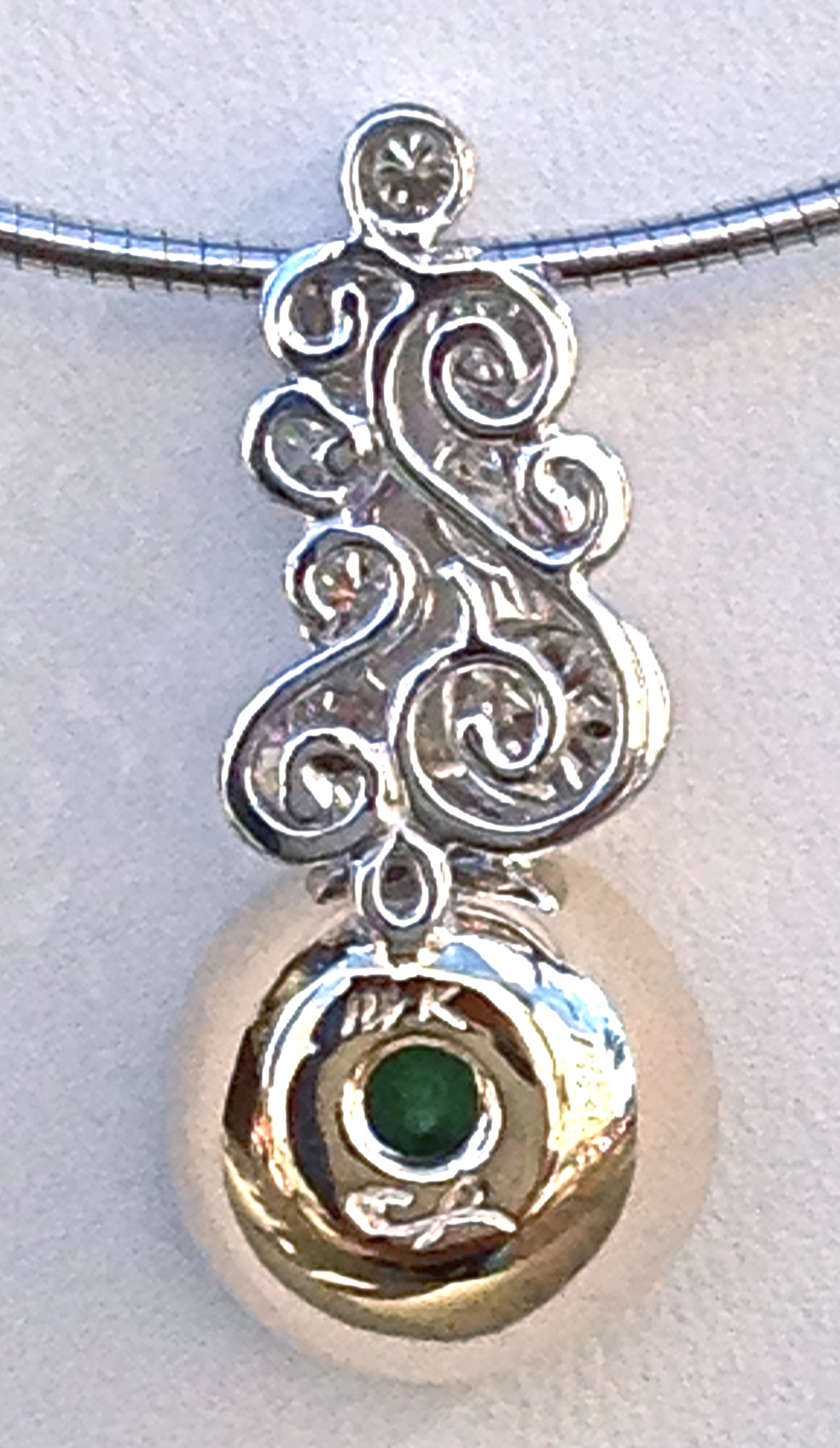 unique-craft-revival-jewelry-store-grand-rapids-green-tourmaline-round-stone-white-gold-yellow-gold-diamond-accent-pendant-ladies-custom-jewelry-back