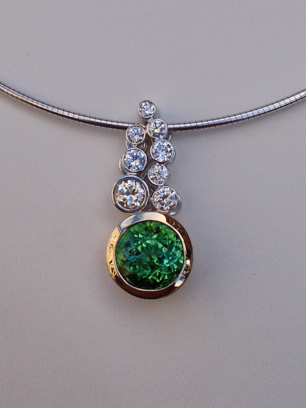 Craft-Revival Jewelers, unique pendant, unqiue necklace, bezel set diamond, green tourmaline, scroll design