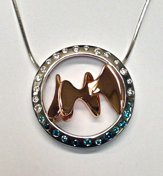 Craft-Revival Jewelers, unique pendant, unqiue necklace, rose gold pendant, blue diamond, grand rapids jewelry