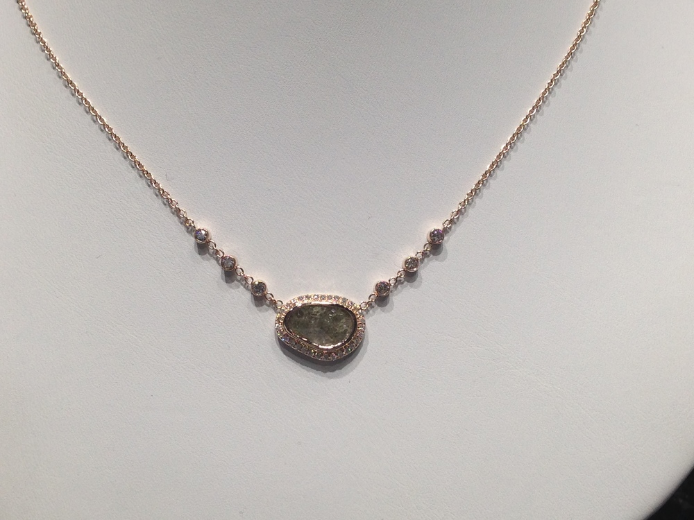 Craft-Revival Jewelers, unique pendant, unqiue necklace, diamond slice necklace, rose gold necklace
