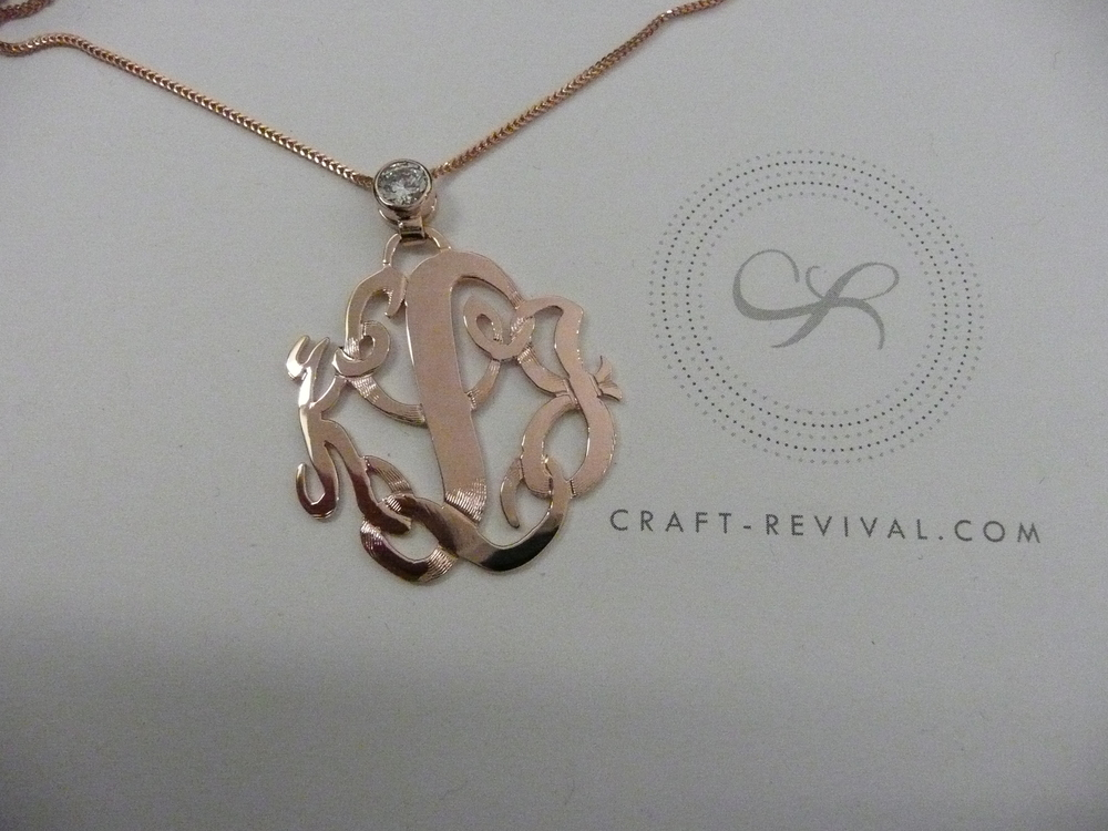 Craft-Revival Jewelers, unique pendant, unqiue necklace, initial pendant, monogram, monogram necklace