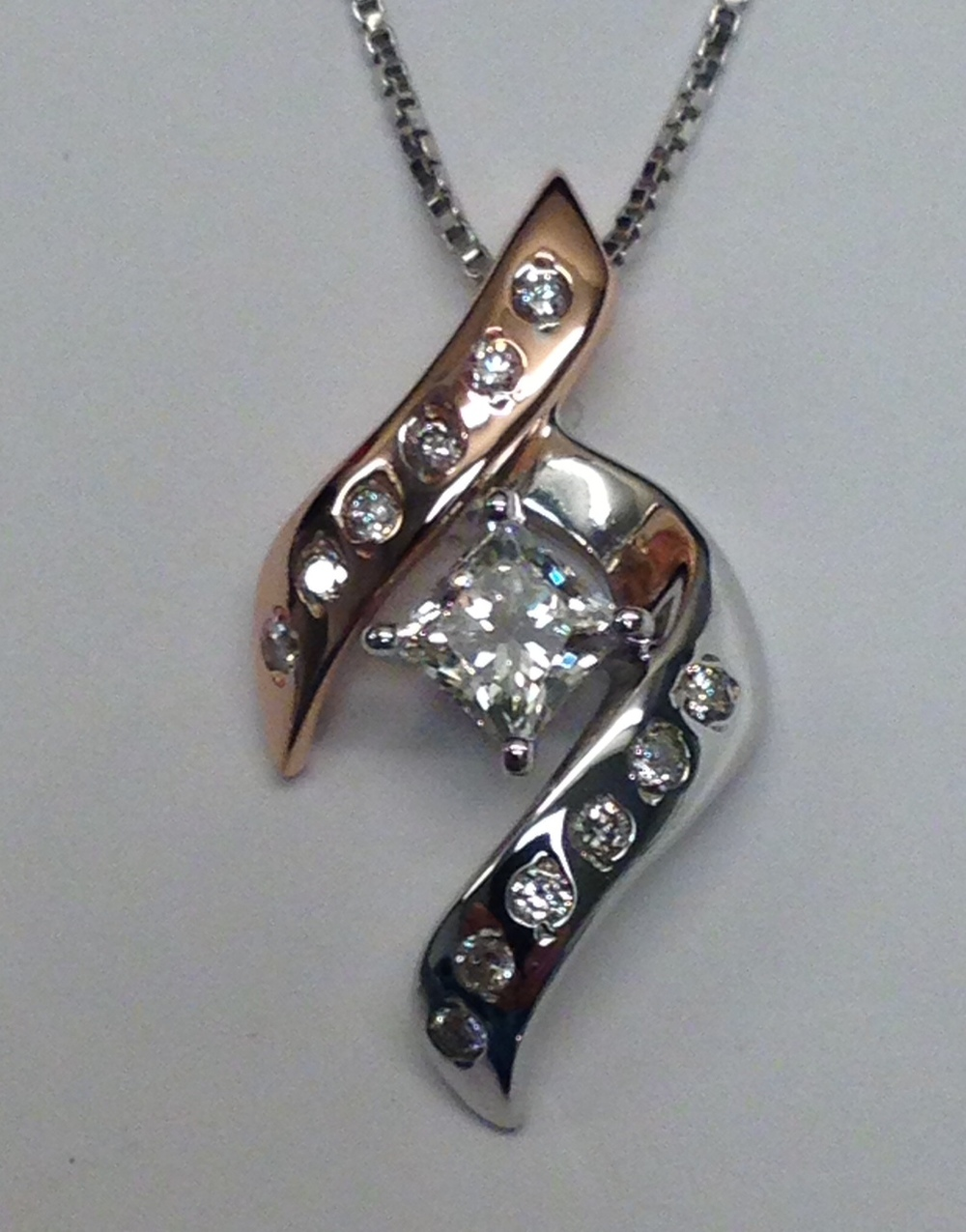 Craft-Revival Jewelers, unique pendant, unqiue necklace, rose gold pendant, princess cut diamond